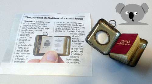 News article about The World's Smallest Dictionary