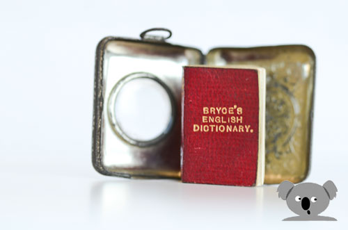 Smallest Dictionary wuth a hinged locket and magnifying glass