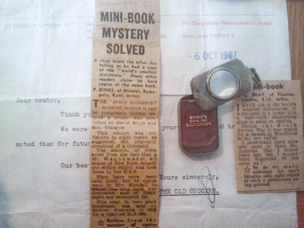 The Daily Mirror 1967, Bryce's World's Smallest dictionary, clippings